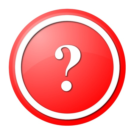 round question mark button with white ring for web design and presentation