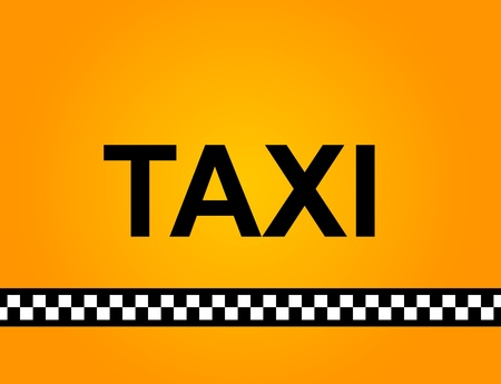 checker flag: Background of a yellow taxi cab with text