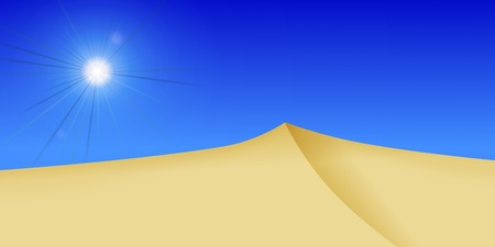 wide angle: bright dessert sun with dunes in the forground Stock Photo