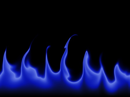 flame: Blue flames against a black background. Stock Photo