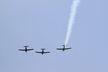 World war 2 airplanes doing a flyover