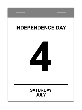 Calender showing July 4th Independence Day USA photo