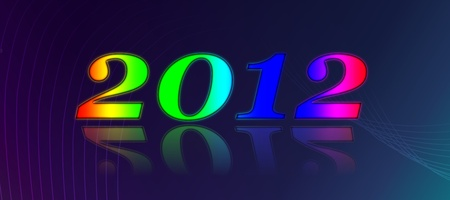 2012 Happy New Year number on dark background with lines. photo