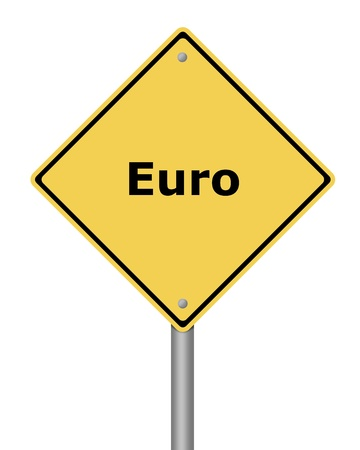 Yellow warning sign on white background with the text euro Stock Photo - 11212559