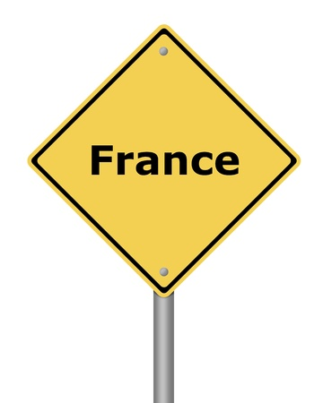 Yellow warning sign on white background with the text France Stock Photo - 11212561