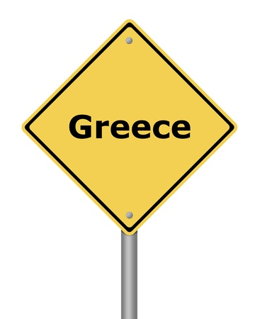 Yellow warning sign on white background with the text Greece Stock Photo - 11212563