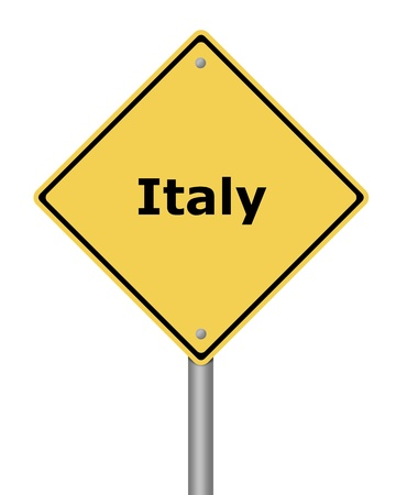 decline in values: Yellow warning sign on white background with the text Italy