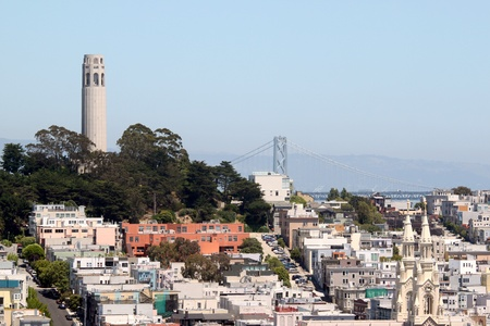 coit: Coit Tower viewed from Lombard Street in San Francisco, California
