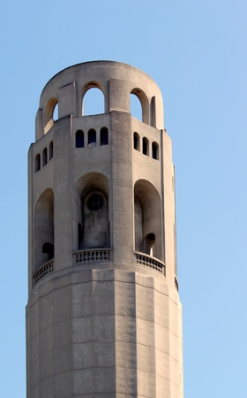 Closeup of the historical Coit Tower in San Francisco, California photo