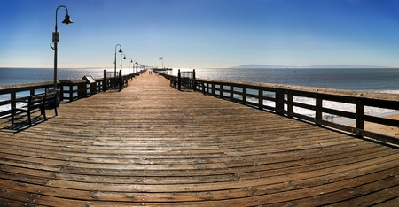 The Ventura Pier with Santa Cruz Island in the background. Stock Photo