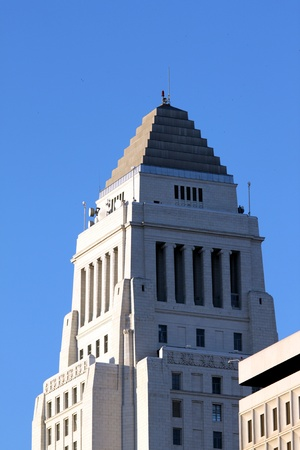 Top part and rooftop of the city hall in downtown Los Angeles