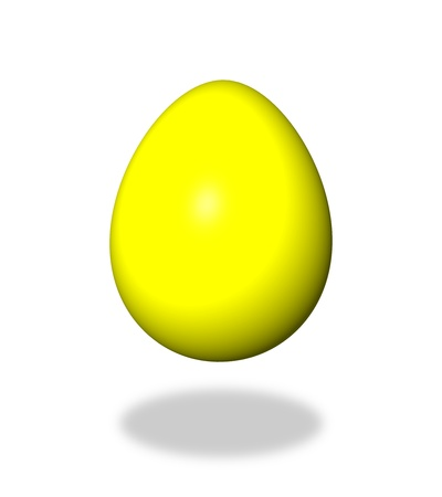 Yellow egg on white background with shadow