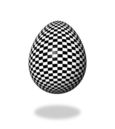Checkered egg on white background with shadow