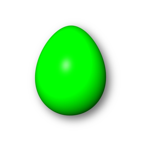 Green egg on white background with shadow