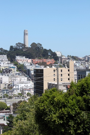 Coit Tower viewed from Lombard Street in San Francisco, California photo