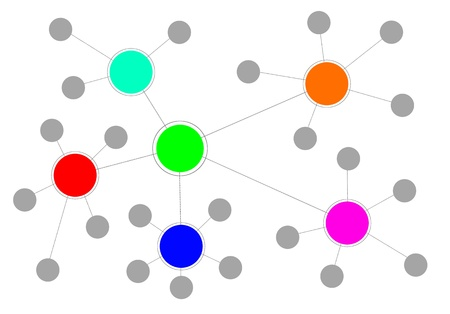 Illustration of a complex network with different clusters. Stock Photo