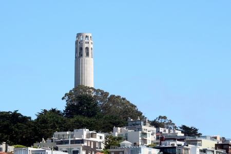 coit tower: Coit Tower is a famous landmark in San Francisco  Stock Photo