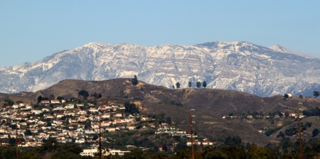 Snow on the mountains near Ventura California  photo