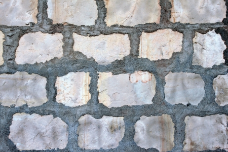 Gray rock wall at the Santa Barbara Mission. Stock Photo