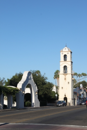 Downtown Ojai with the post office tower. Stock Photo