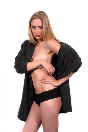 nude blond: Portrait shot of a beautiful nude blond woman with a jacket  Stock Photo
