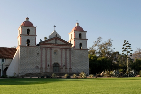 The Spanish historic Santa Barbara Mission in California  photo