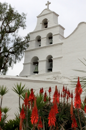 catholocism: Outside shot of the San Diego Mission Basilica