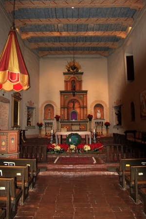 catholocism: Inside the San Diego Mission with the altar in the front