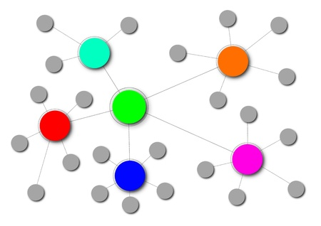 Illustration of a complex network with different clusters  illustration