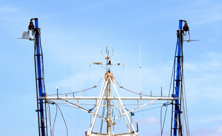 Top view of a fishing boat with rigging  Stock Photo