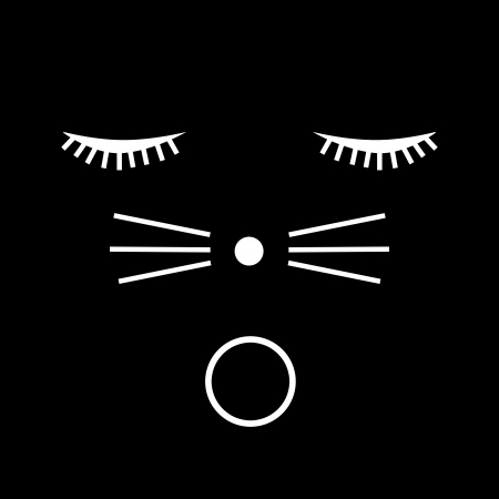 White cat face illustration on black background