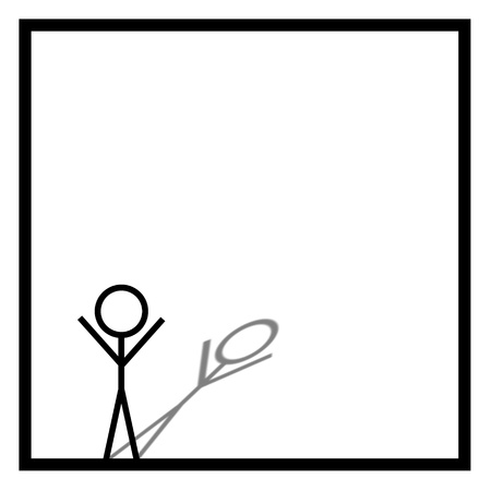 Black stickman on white background in a black square box photo