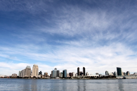The skyline of San Diego with water in the front and cloudy blue sky in the background