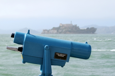 Observation coin viewer in San Francisco with Alcatraz in the background  photo