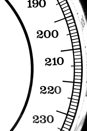 Segment of a scale with the numbers 190-230 Stock fotó