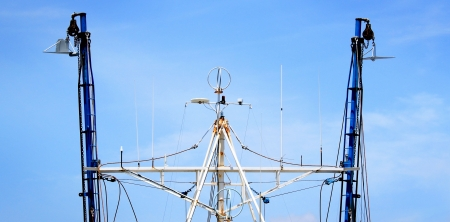 Top view of a fishing boat with rigging  photo