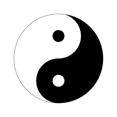 contrary: Yin Yang Day Night opposite or contrary forces Stock Photo