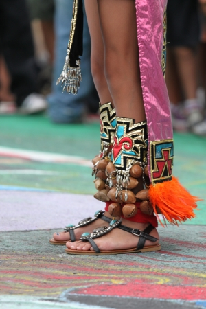 powow: Decorated feet of an American Indian native