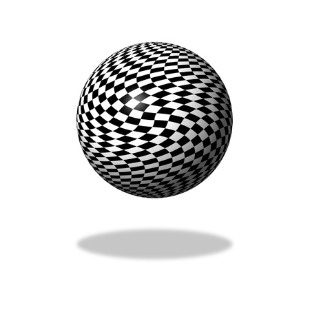 Abstract black and white chessboard globe on white background with shadow