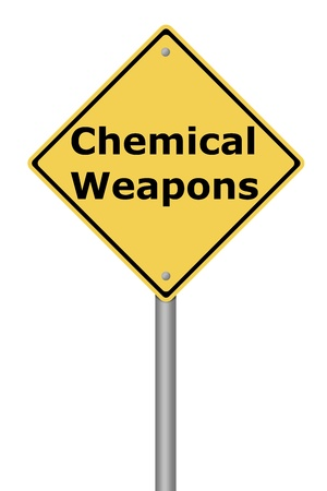 risky: Yellow warning sign with the text Chemical Weapons
