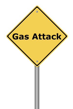 Yellow warning sign with the text Gas Attack Stock Photo - 22026828