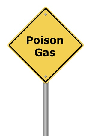 poison symbol: Yellow warning sign with the text Poison Gas