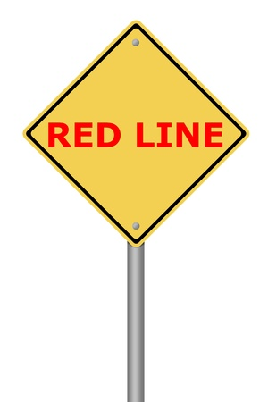 Yellow warning sign with the text Red Line Stock Photo - 22026830