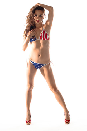 Woman with a USA bikini photo