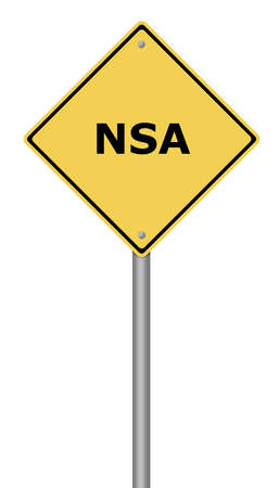 edward: Yellow warning sign with the text NSA. Stock Photo