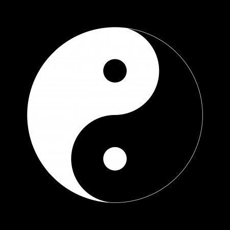 contrary: Yin Yang Day Night opposite or contrary forces.