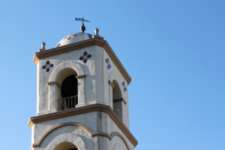 Ojai Post Office Bell Tower with blue sky in the background