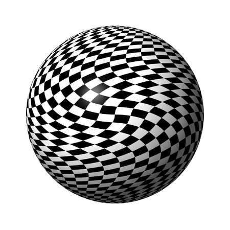 Abstract black and white chessboard globe on white background. Stock Photo