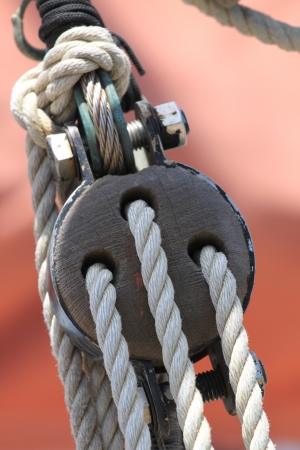 Block and tackle from a sail boat  Reklamní fotografie