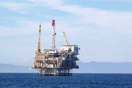 oil and gas industry: Oil Rig in the channel island near Ventura California.
